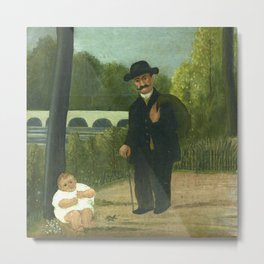 """Henri Rousseau """"Stroller and Child"""" Metal Print"""