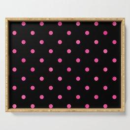Yummy Hot Pink Dot Pattern on Black Serving Tray