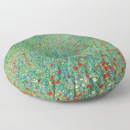 Poppy Field Gustav Klimt Floor Pillow