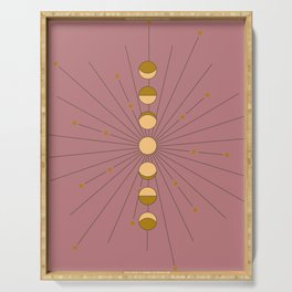 Moon Phases in gold with a starburst and dusty rose background Serving Tray