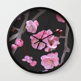 painted plum blossom black Wall Clock