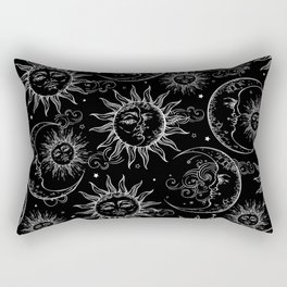 Black Magic Celestial Sun Moon Stars Rectangular Pillow