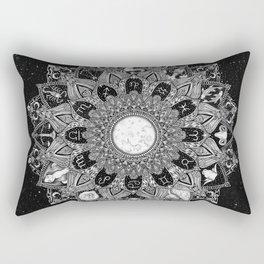 Zodiac Signs Mandala with Starry Background Rectangular Pillow