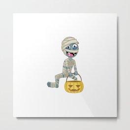 Cartoon Mummy Character Hold Halloween Pumpkin Metal Print