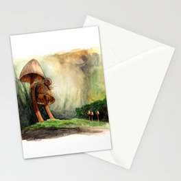 Mushroom Couple Entertains Mr. Snail Stationery Cards