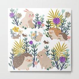 Hedgehogs bunnies and mice Metal Print