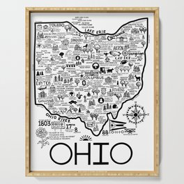 Ohio Map Serving Tray