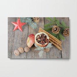 Image New year Star decoration Apples Cinnamon Foo Metal Print