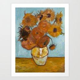 Sunflowers for Amy, a Vincent Van Gogh Copy Art Print