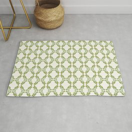 Olive Branches, Green on Antique White Rug