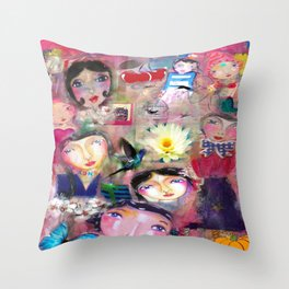 Birds and butterflyes Throw Pillow