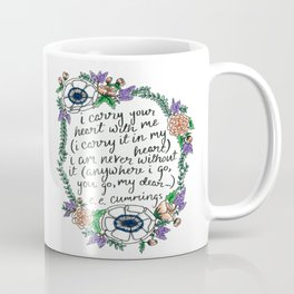 Hand-lettered e.e. cummings quote with floral wreath Coffee Mug