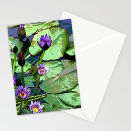 Blissful Water Lilies. Nymphaea Amplia. Common name in Venezuela Lirio de Agua Stationery Cards