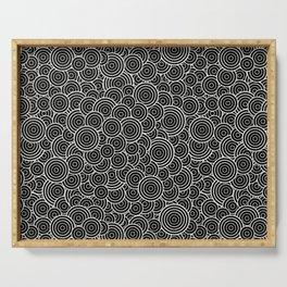 Chaotic Circles - Geometric Pattern (Black) Serving Tray