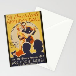 """Vintage American WPA Poster - The President's birthday ball """"So we may dance again"""" (1939) Stationery Cards"""