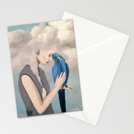 Woman with Parrot Stationery Cards