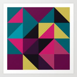 Triangle Shapes Texture, Retro Style, Purple, Turquoise, Yellow, Pink and Black Art Print
