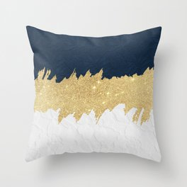 Navy blue white lace gold glitter brushstrokes Throw Pillow