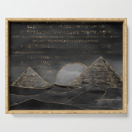 Egyptian Pyramids Abstract Watercolor and Gold Serving Tray