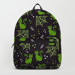 Halloween cats green party Backpack