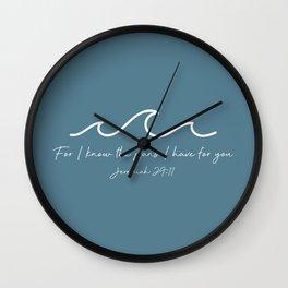 Jeremiah 29:11 Waves, White Wall Clock