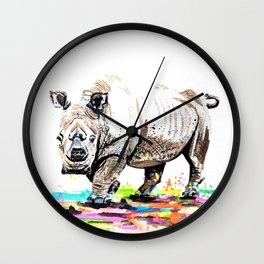 Sudan the last male northern white rhino Wall Clock