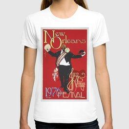 1976 New Orleans Jazz Festival Advertising Gig Poster T-shirt