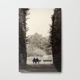 Couple sitting on bench Metal Print