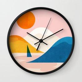 Abstraction_Lake_Sunset_Minimalism_002 Wall Clock