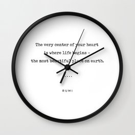 Rumi Quote 20 - Minimal, Sophisticated, Modern, Classy Typewriter Print - The Most Beautiful Place Wall Clock