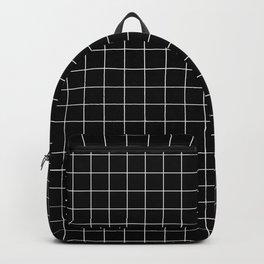 Large White Grid on Black Backpack