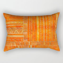 Tribal Ethnic pattern gold on bright orange Rectangular Pillow