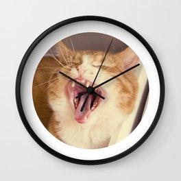 Kristofferson cat yawns Wall Clock