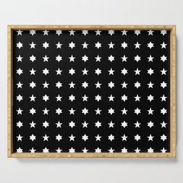stars 83 - black and white Serving Tray