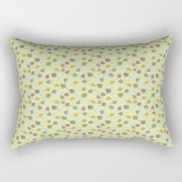 Small Colorado Aspen Tree Leaves Hand-painted Watercolors in Golden Autumn Shades on Fern Green Rectangular Pillow