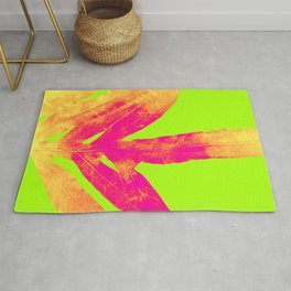 Green and Ultra Bright Coral Fern Rug
