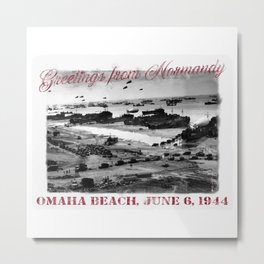 Greetings from Normandy - Omaha Beach Metal Print