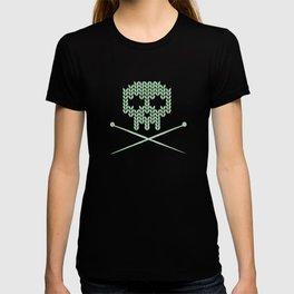 Knitted Skull / Knitting with Attitude (black on vintage aquamarine) T-shirt