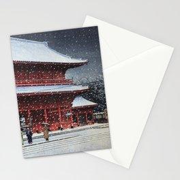 Kawase Hasui - Snow over Zojoji Temple (Shiba, Tokyo) (1953) Stationery Cards
