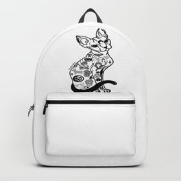 Sphynx Cat. Halloween cat. Hairless Cat. Tattooed Cat. Backpack
