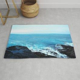 Blue Layered Horizon Textures Rug
