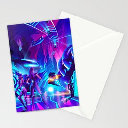 Futuristic metropolis town Stationery Cards