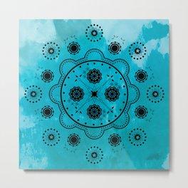 Turquoise Mechanical Flowers Metal Print