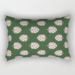 Tropical leaves Monstera deliciosa emerald and pink #monstera #tropical #leaves #floral #homedecor Rectangular Pillow