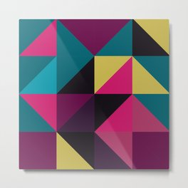 Triangle Shapes Texture, Retro Style, Purple, Turquoise, Yellow, Pink and Black Metal Print
