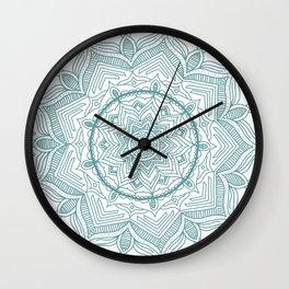 Teal Flower Mandala Wall Clock