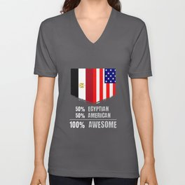 50% Egyptian 50% American 100% Awesome Immigrant Unisex V-Neck