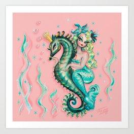 Mermaid Riding a Seahorse Prince Art Print