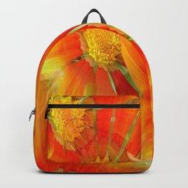Seamless Pattern Of Vibrant Orange Gazania Flower Backpack
