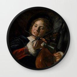 Frans Hals - Lute Playing Boy - Renaissance Fine Art Retro Vintage Oil Painting Wall Clock